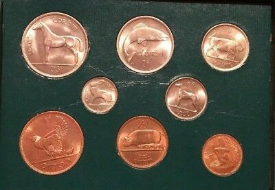 Coins Of Ireland 1950s SET MINT 8 COINS GREEN BOXUNCIRCULATED Mixed Dates