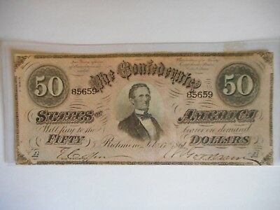 1861 $50 Dollar Bill Confederate States Currency Civil War Note Paper Money