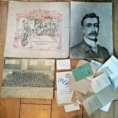 Collection Of Military Paperwork Inc Wound Certificate To Cpl Moye Essex Regt