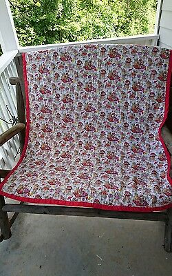 Handmade Baby Quilt Teddy Bear Fabric Primary Colors Red Yellow Unisex 52x42 EUC