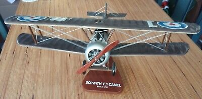 Sopwith Camel F.1 Balsa Airplane Display Model Scale 1:24 with Placard Stand
