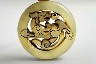 Chinese Collectable Old Jade Carve Tibet Kylin Ancient Mage Use Exorcism Pendant