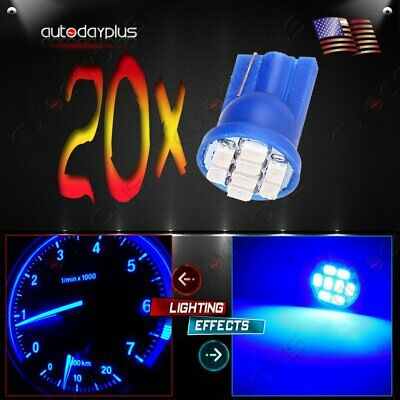 20X T10 168 194 W5W LED Instrument Panel Light 12V Car Blue Bulbs Replacement