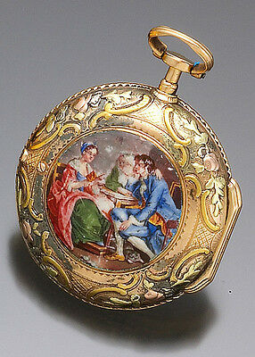 Antique Multicolor 18K Gold Repousse Gold Enameled Verge Fusee Pocket Watch