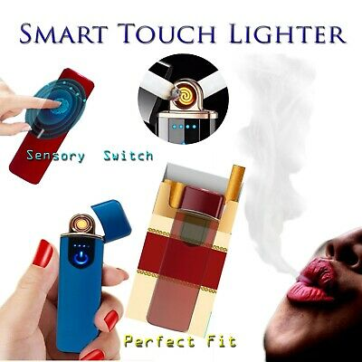 USB Electric Lighter Windproof Touch Fingerprint Rechargeable Flameless