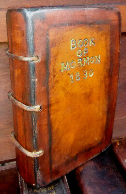 BOOK OF MORMON 1830 GOLDEN PLATES EDITION SIGNED JSMITH WITNESSES LEATHER repro.