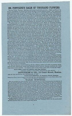 RARE Advertising Leaflet Flyer  1846 Dr Fontaine Balm of Thousand Flowers Boston