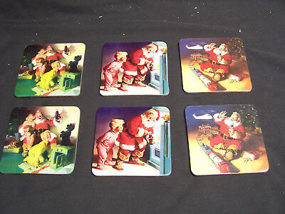 VINTAGE COCA COLA SANTA CHRISTMAS COASTER SET OF 6 CORK BACK 1990's COKE HOLIDAY