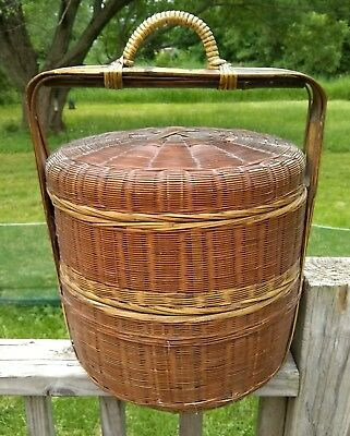 Vintage Sewing Basket Box 2 Tier Stacking Chinese Wedding Woven