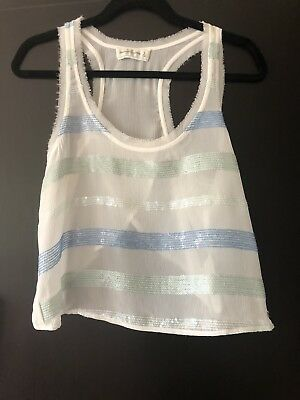 Abercrombie & Fitch girls Cream Sheer Vest Top With Blue Sequin Strips Size S