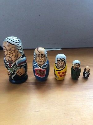 """4"""" Russian President nesting doll set of 5 hand painted"""