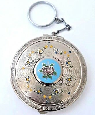 Vintage Art Deco Engine Turned & Painted Flowers Finger Ring Powder Compact.