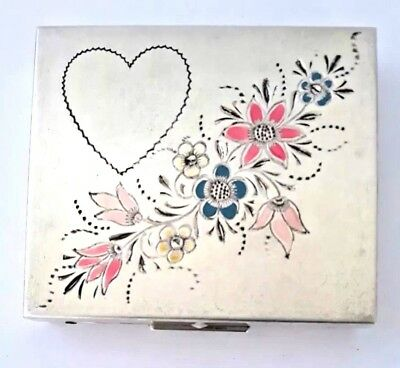 Vintage Art Deco Sterling Silver  Powder & Sweetheart Photo Compact. See!