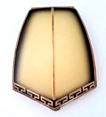 Vintage EAM Art Deco Black and Cream Champleve Enameled Vanity Compact. See!