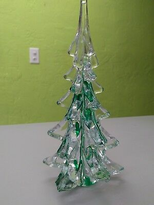 "Art Glass 9"" Christmas Tree with Green Accents"