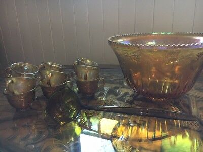 Amber Carnival Glass Punch Bowl Set