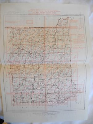 Vintage 1952 New Hampshire & Vermont USGS Topographic Topo Map Index with Map