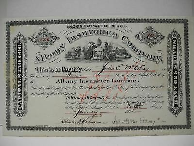 Albany Insurance Company 1905 Issued 10 Shares Stock Certificate with Stamps