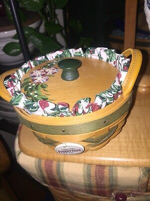 Longaberger 1999 Tree Trimming Christmas Peppermint Basket Combo Gorgeous Lid