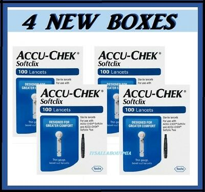 Factory Sealed New 400 Softclix Accu-Chek Lancets, Exp 2020 and Later, Soft Clix