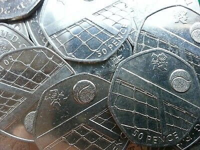 Olympic 50p. London 2012. TENNIS. Fifty pence. Circulated.