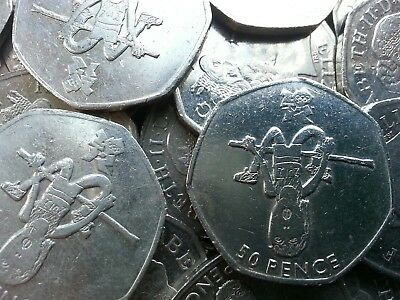 Olympic 50p. London 2012. ATHLETICS. Blue Peter. High Jump. Fifty. Circulated.