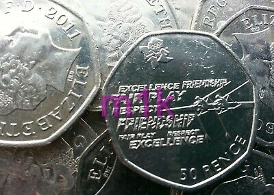 Olympic 50p. London 2012. ROWING. Fifty pence. Circulated.