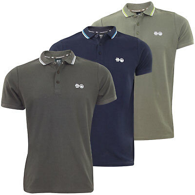 New Mens Branded Crosshatch Printed 100% Cotton Ribbed PK Polo Pique T Shirt Top