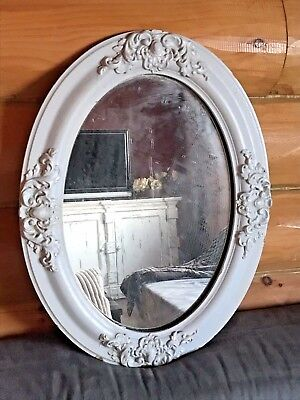 Antique French Country Painted Oval Wall Hanging Wood Frame Bath Vanity Decor