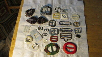 vintage buckle lot pearl, metal and old plastic