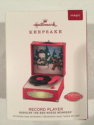 2018 Hallmark Ornament RUDOLPH THE RED NOSE REINDEER RECORD PLAYER
