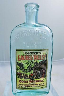Antique W.W. Cooper & Co Mountain Corn Whiskey Flask Bottle Marion NC