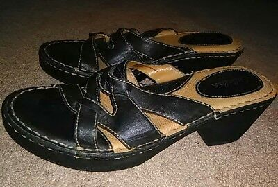 Women's Cabela Black Leather Open Toe Sandals Size 8M * Excellent Condition!