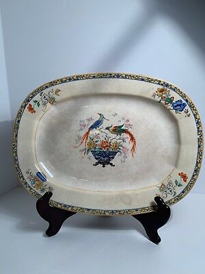 Vintage Edwin M Knowles Ivory Floral And Peacock Pattern Platter (See Pictures)