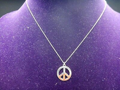 Tiffany and Co. Sterling Silver PEACE Necklace 17'' Large Chain