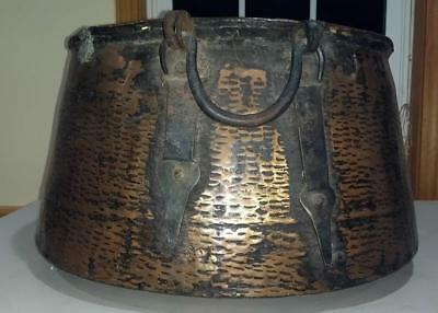 Antique Large Copper Candy Kettle Cauldron Pot w/ Hammered Wrought Iron Handles