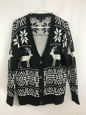 FOREVER 21 WOMENS Size Small Reindeer Christmas Button Down
