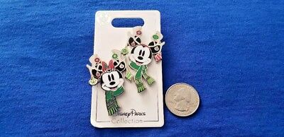 DISNEY Pin 2018 Christmas Holiday Mickey Minnie Antlers With Ornaments 2 Set NEW