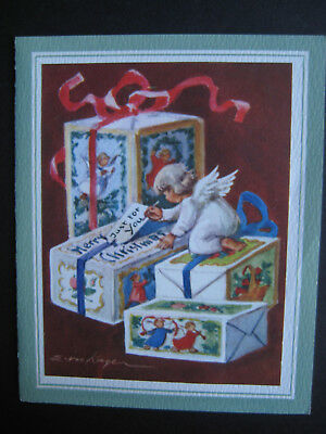 UNUSED 1950s vintage greeting card Erica Von Kager CHRISTMAS Angel On Gifts