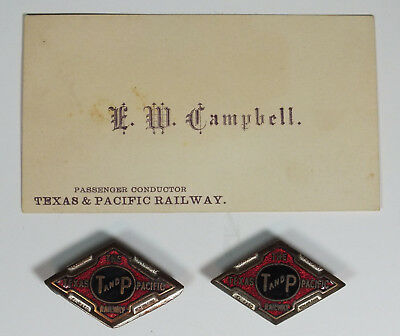 Texas & Pacific Railway Rail Road Conductor Lot Business card & Collar Devices