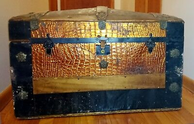 """Victorian Camelback Dome Top Trunk bronze Wood Pressed Alligator Tin overlay 30"""""""