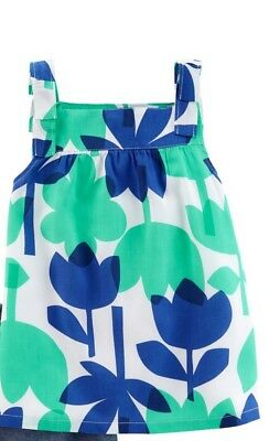 NWT Girls Carters Colorblock Flower Tank Top Blue Green White Size 8