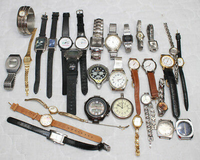Large Lot of Old Watches Guess Helbros John Alden Disney Ladies Mens