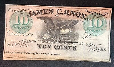 1862 James C Knox 10 Cent Note Fractional Reserve Currency Civil War New York NY
