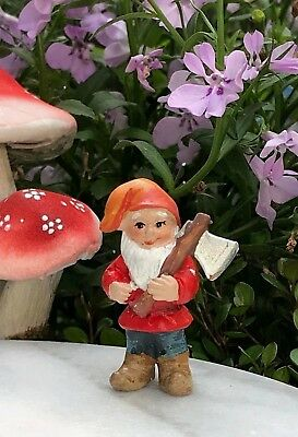 Miniature Dollhouse FAIRY GARDEN ~ Mini GNOMELAND Gnome Figurine w Ax