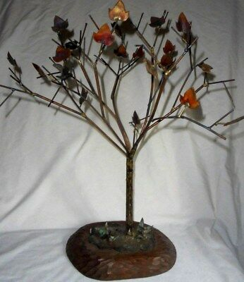 Vintage mid-century brass & copper Fall Tree sculpture large Folk Art