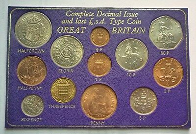 1967-1977 Great Britain / Uk - Complete Pre-Decimal L.s.d. & Decimal Set (12)