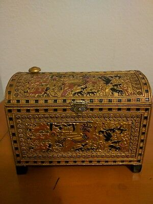 """Egyptian Painted Trinket Box Collectible Egypt Jewelry Container 6"""" Length"""