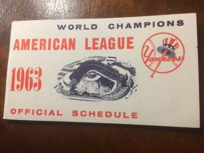 1963 New York Yankees Official Schedule