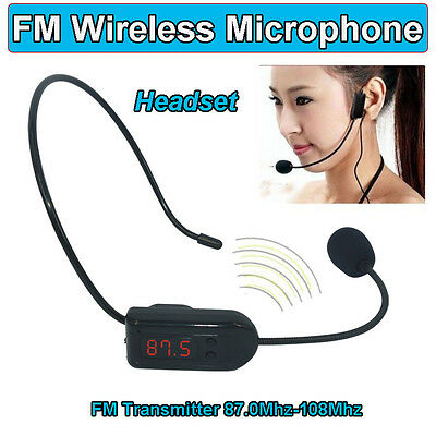 Rechargeable USB FM Wireless Microphone Headset Megaphone 87.0 Mhz to 108Mhz